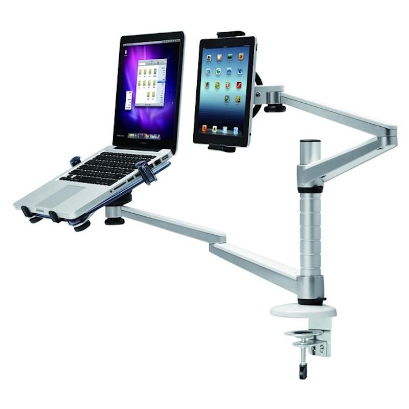 Double bras articulé pour pc portable et tablette