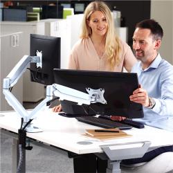 Bras porte-écrans double Eppa™ blanc 3